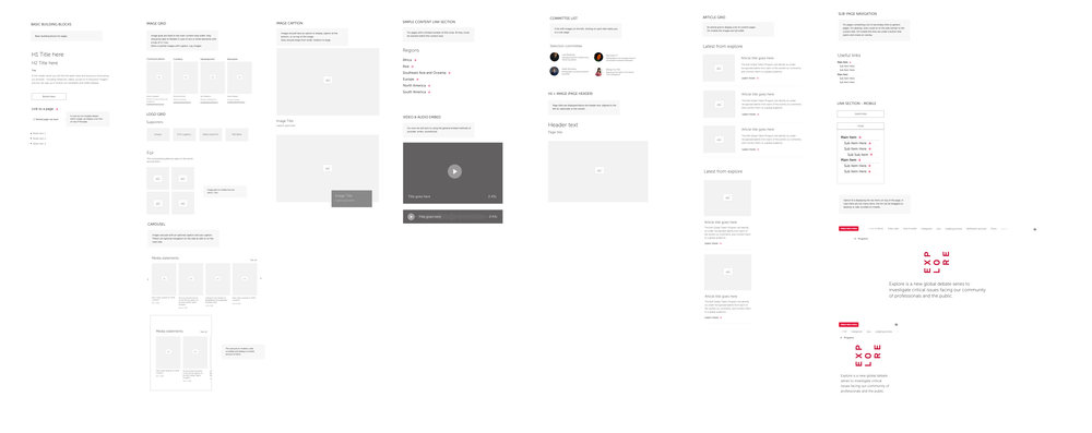 Components created for the content section