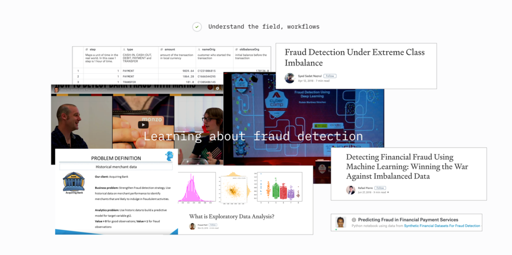 To understand the field I immersed myself in a range of topics centred around fraud detections and large-volume data analysis.