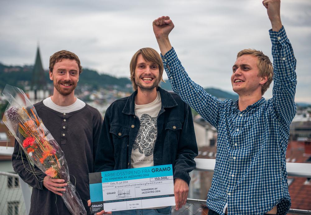Medlemmene i Monkey-Plot. Vinner av Jazzintro og Gramo-stipend 2014 med en sjekk på kroner 150000. Moldejazz. Foto Daniel Johannesen.