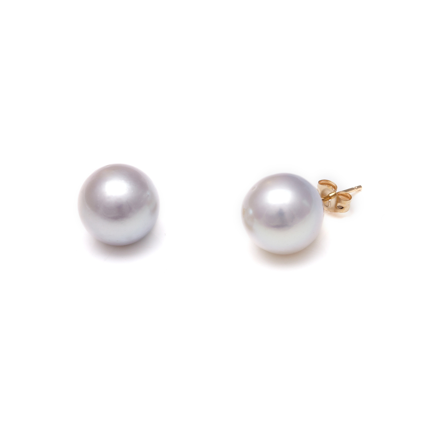 Grey Akoya Pearl Earrings With Gold Studs