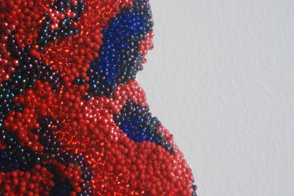 Zealot: heart (detail) . Seed beads embroidered onto felt. 25 x 9,5 cm. 2018.