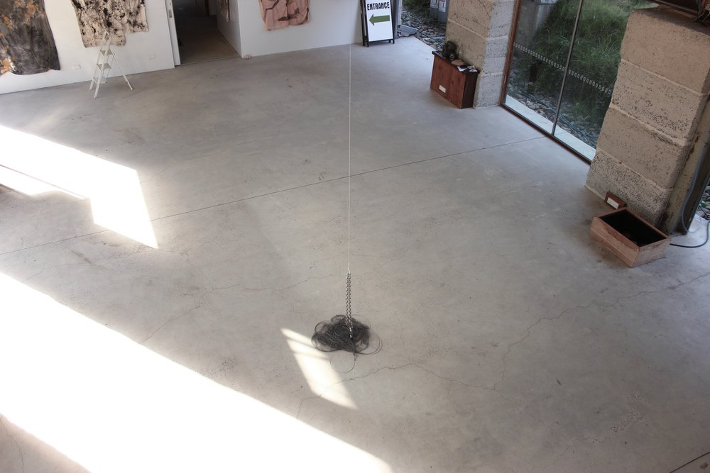No One Should Be Alone In Their Old Age . Kinetic installation with hand-knotted net, stainless steel and water. Dimensions variable.Made and presented at the Bilpin International Ground for Creative Initiatives in Bilpin, Australia. 2017.