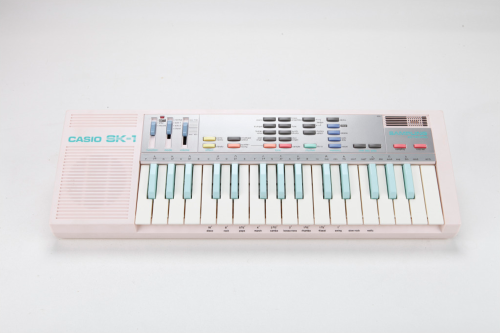 The TR drum sounds in the pack were treated with the sonic characteristics of this Casio SK-1 toy sampler.