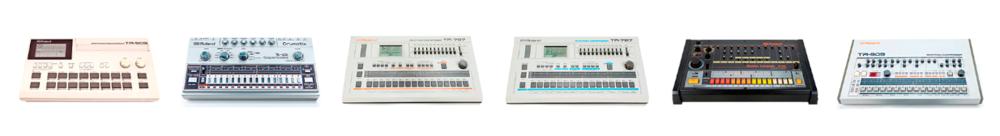 TR-505, TR-606, TR-707, TR-727, TR-808, TR-909