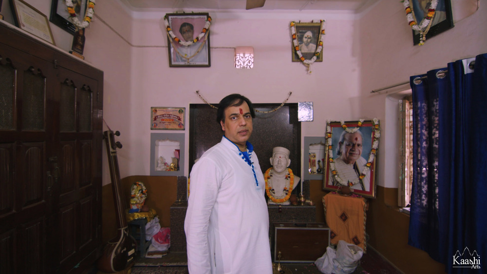 Pandit Sanju Sahai ji at the legendary Sahai ancestral home - Kabir Chaura, Benares, India.