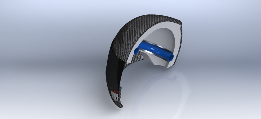 A cut-away showing the 'endothermic ring' within the helmet lining