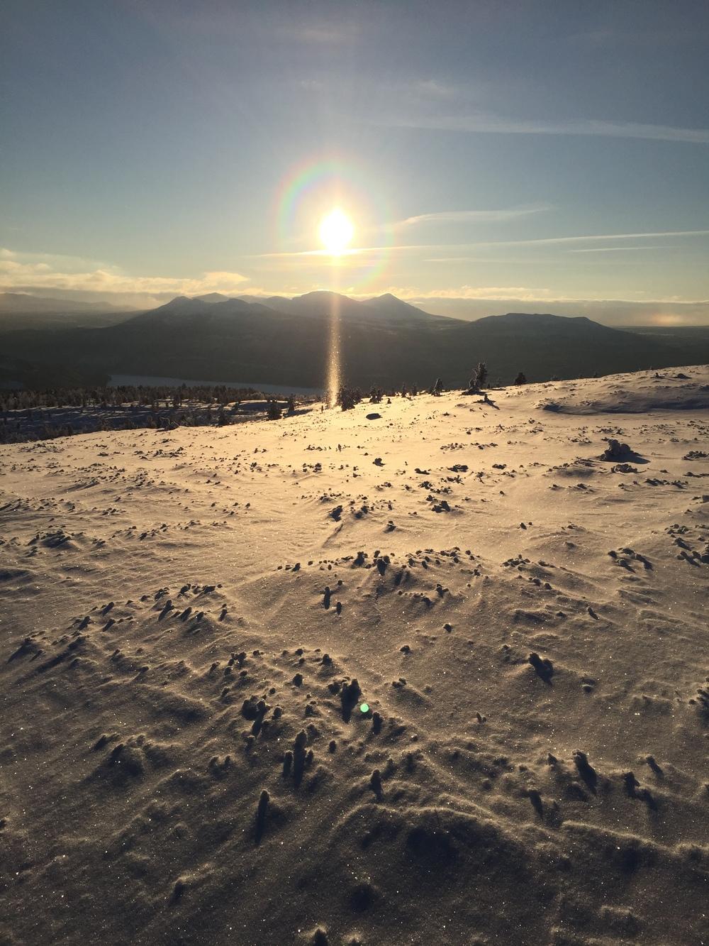 Solnedgang på Skardfjellet i januar
