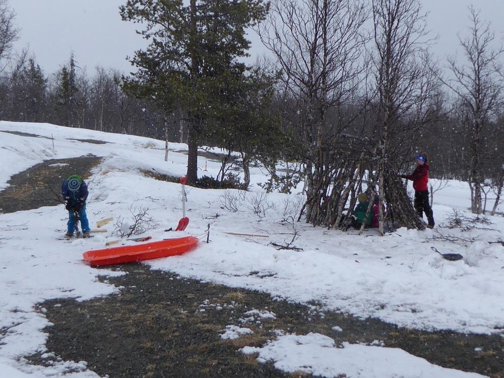 Frøy, Ask og Liv (m/venner) har bygget gapahuk utenfor hytta. Det går fint an å sove i den :-)