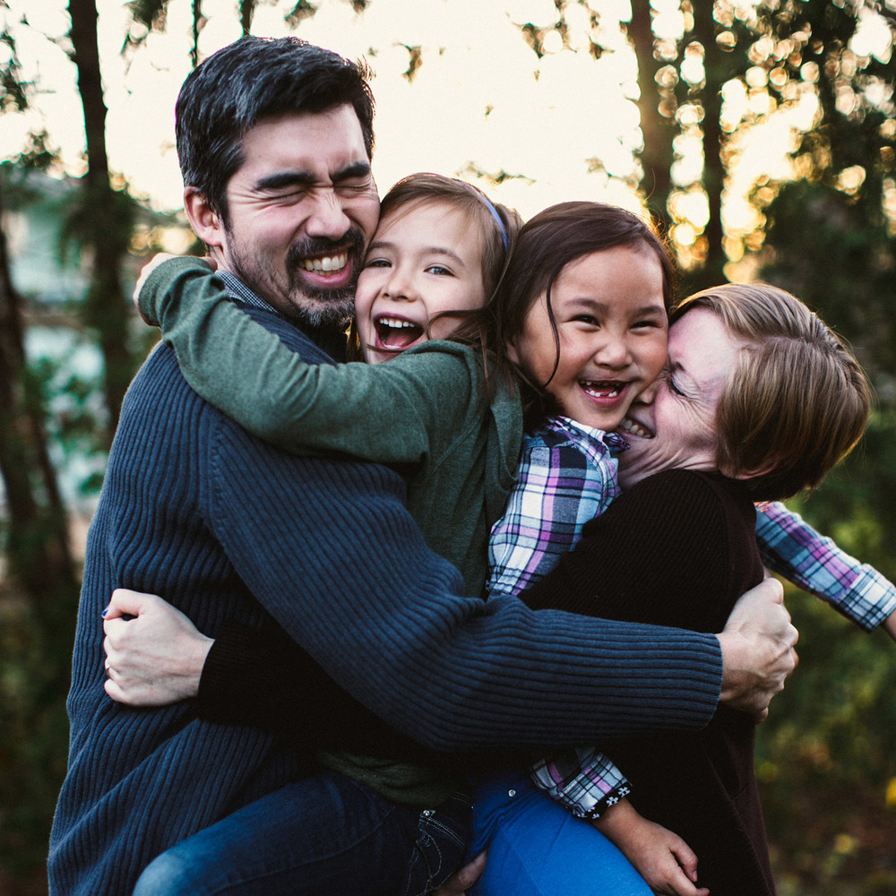 "Image by  Love Roots Photography   Here's all of us doing our ""family sandwich.""  Squeeze!"