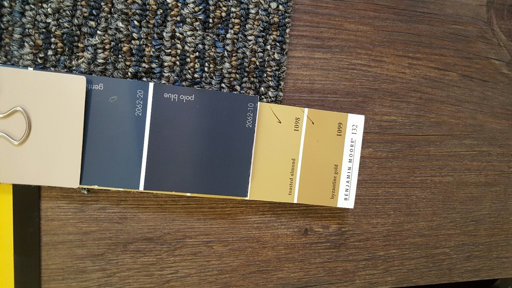 Selected paint colors and floor samples.