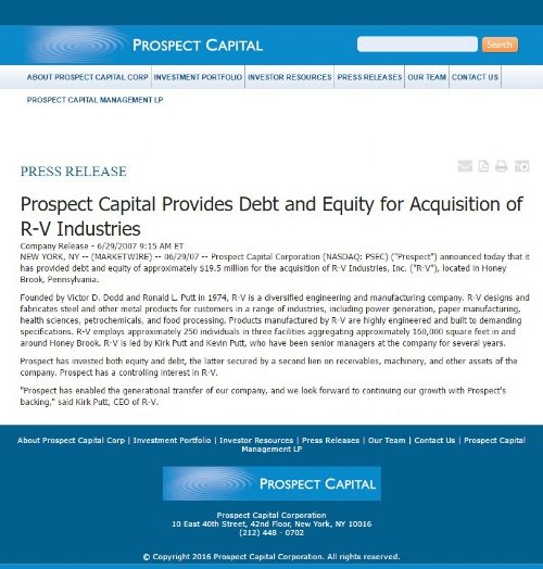 R-V Industries, Prospect Capital, Krishnan & Associates, Prospecting