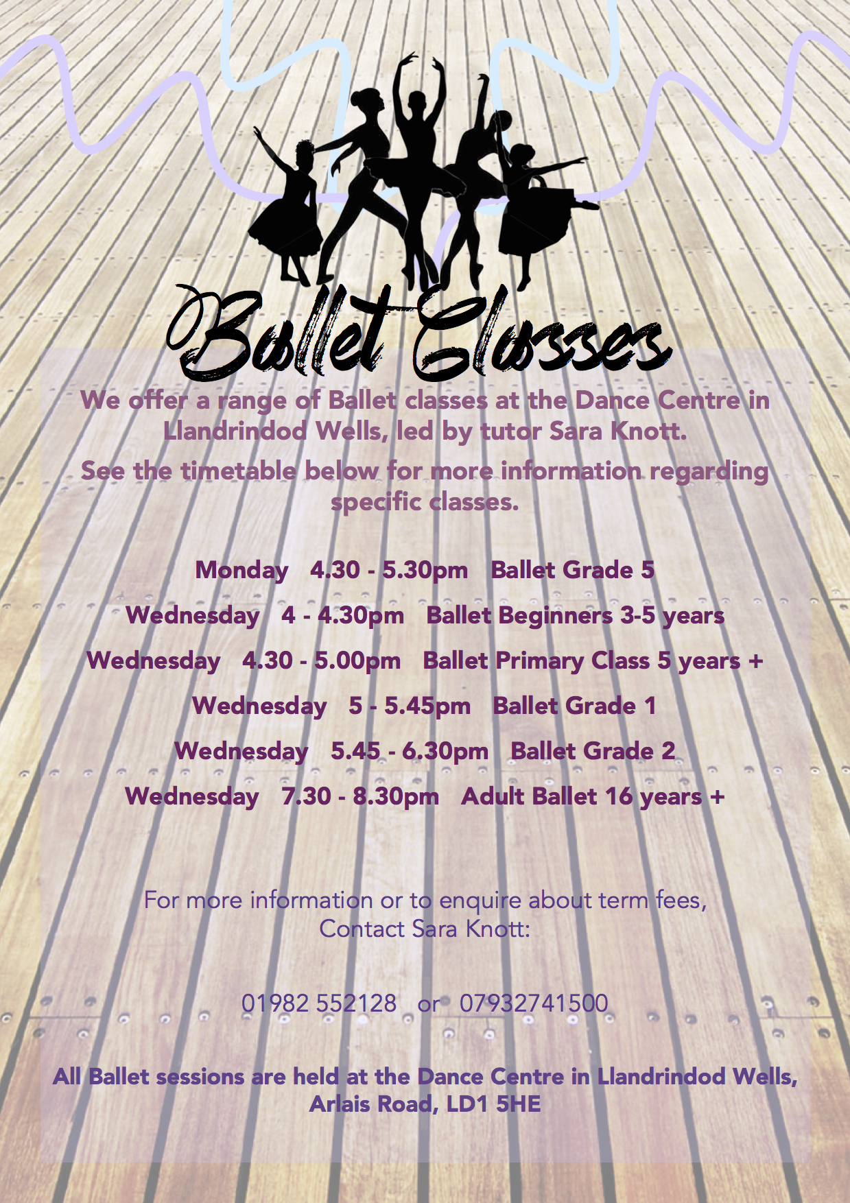 Information on all the different Ballet sessions happening and when!