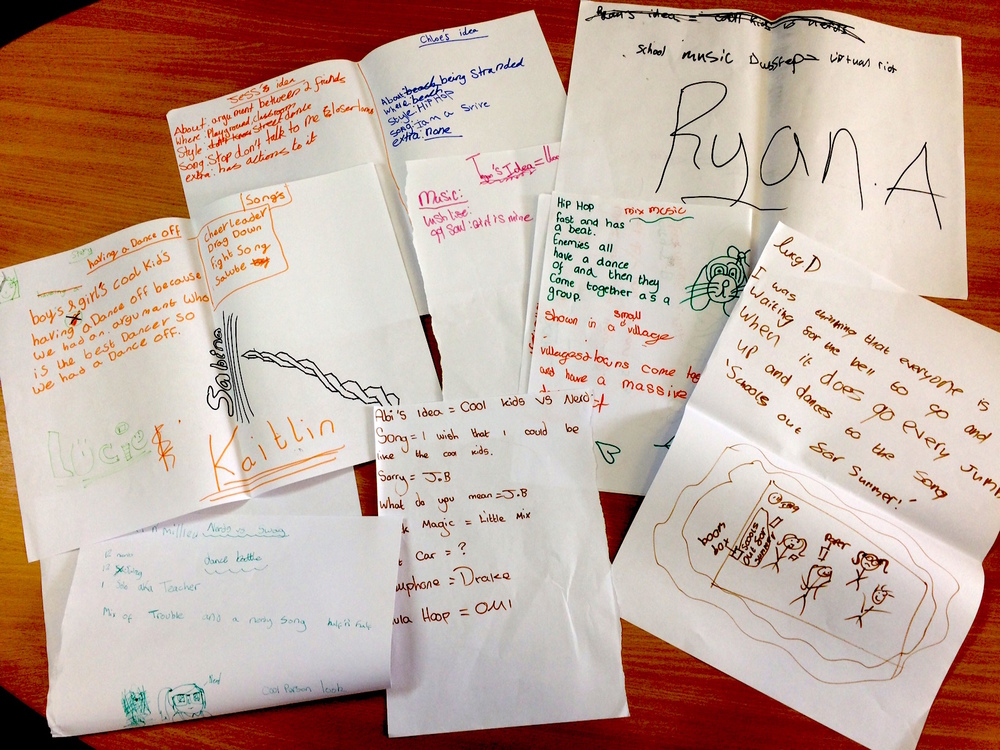 Some of the ideas from the Cefnllys School group about what they want to dance about.