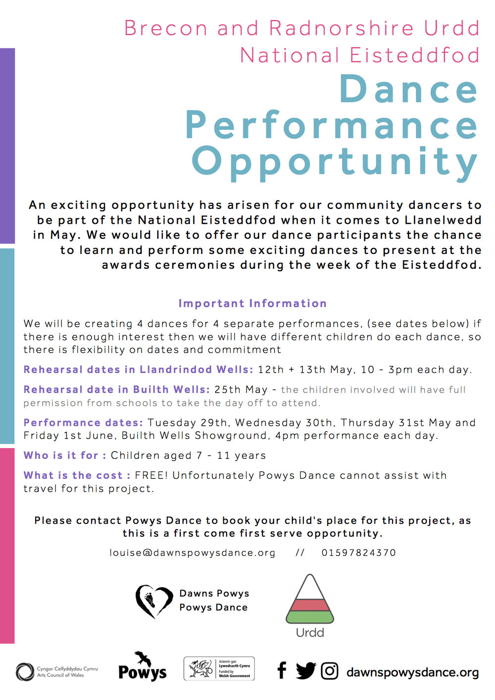 English information sheet for Eisteddfod Opportunity 2018