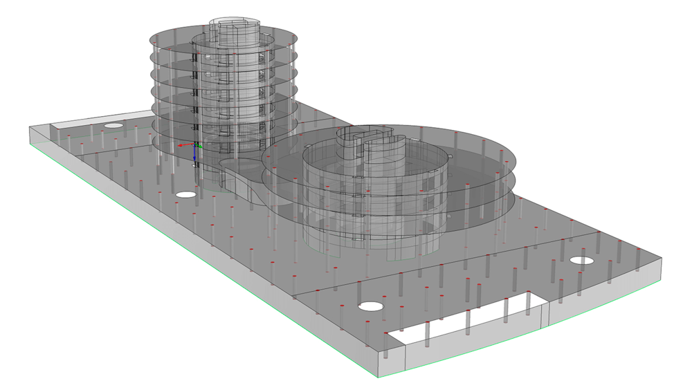 FE Model of the   ZAL Building in Algeciras  . Surface Elements used for Concrete Walls and   S  labs.