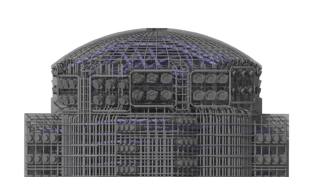 Render 3D de la armadura de refuerzo activa y pasiva para un acumulador de vapor.