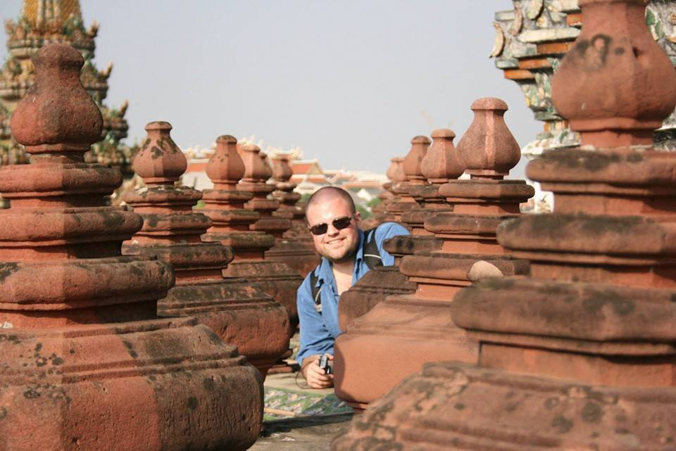 Mike spotted in Bangkok, Thailand at Wat Arun. We like to joke this is going to be the cover of his travel memoirs.