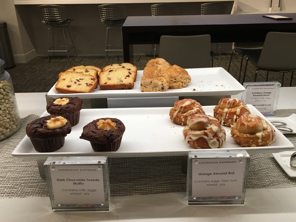 A wide selection of breakfast pastries, all of them of the sugary sweet variety.