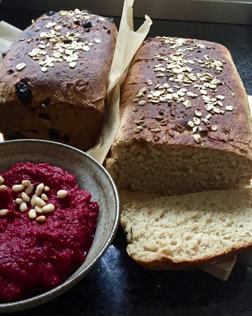 Rosemary oatmeal whole wheat bread with beet spread