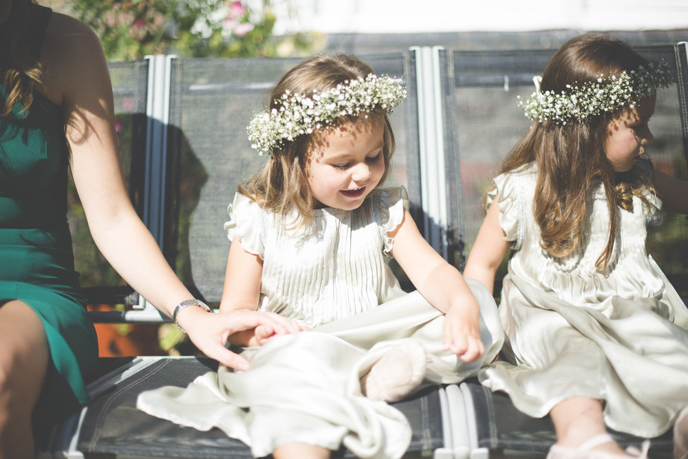 Wedding flowers by Jennifer Pinder. flower girl crowns with gypsophila or baby's breath