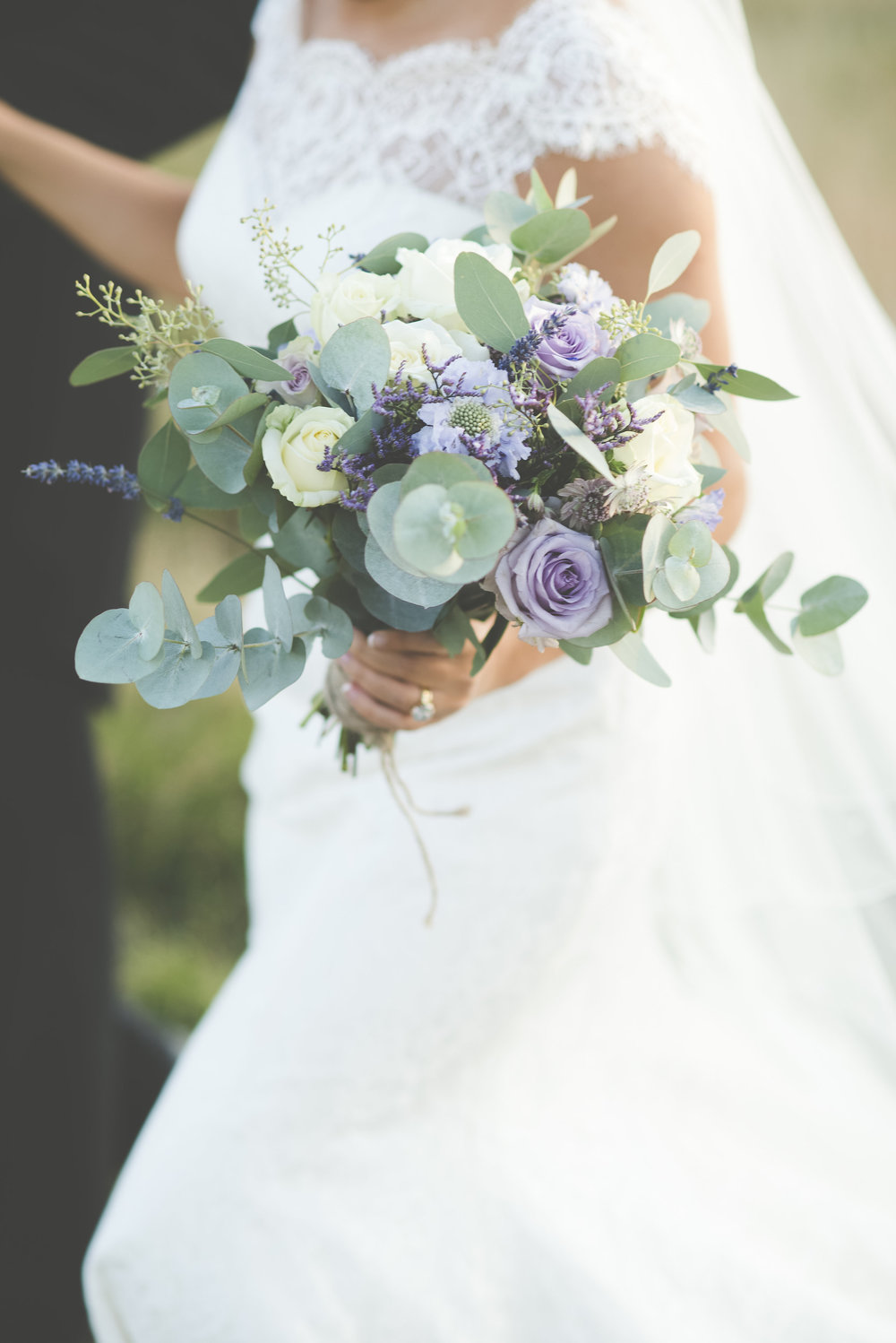 Wedding flowers by Jennifer Pinder. Late summer wild flower bouquet in purple and white. London Kent wedding florist.