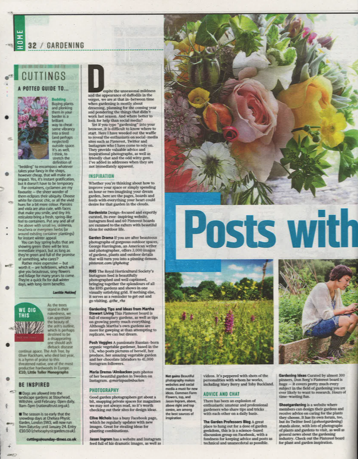 The Sunday Times, article mentioning Jennifer Pinder on Instagram. Florist in Kent and London 1.png