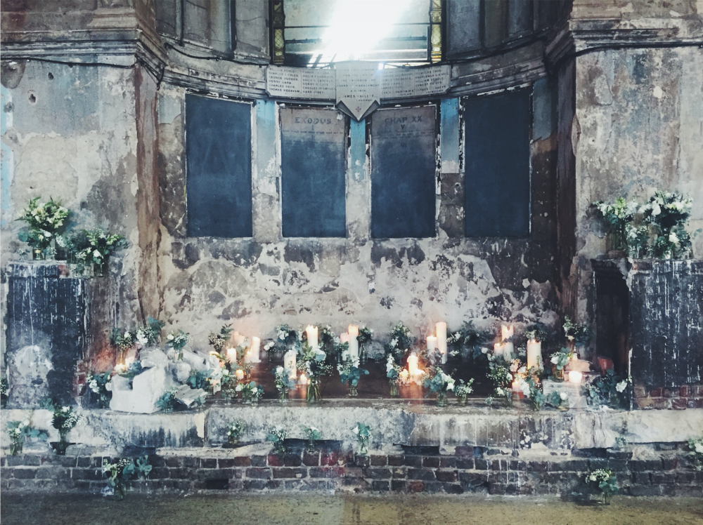 Flowers by Jennifer Pinder at the Asylum Chapel in Peckham South London Maverick Projects. Grey blue, teal and white themed summer wedding.png