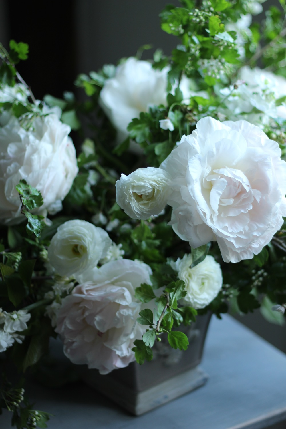 vase arrangement by Jennifer Pinder a London and Kent wedding flowers florist. Blush pink peonies with white ranunculus