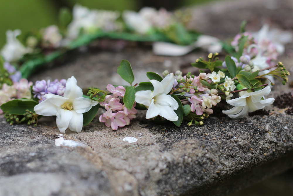 Kent florist Jennifer Pinder makes a blush pink and white flower crown using British grown flowers