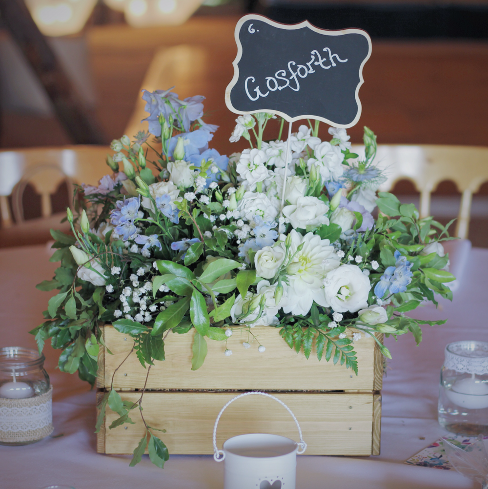 Kent florist Jennifer Pinder does flowers at Chafford Park in Kent wedding venue crate of flowers
