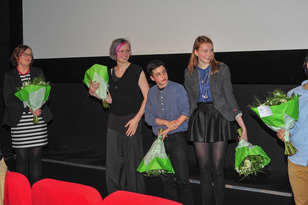 De geportretteerden die op de premiere waren: van links naar rechts, Susanne, Layne, Nathan en Suzanne.
