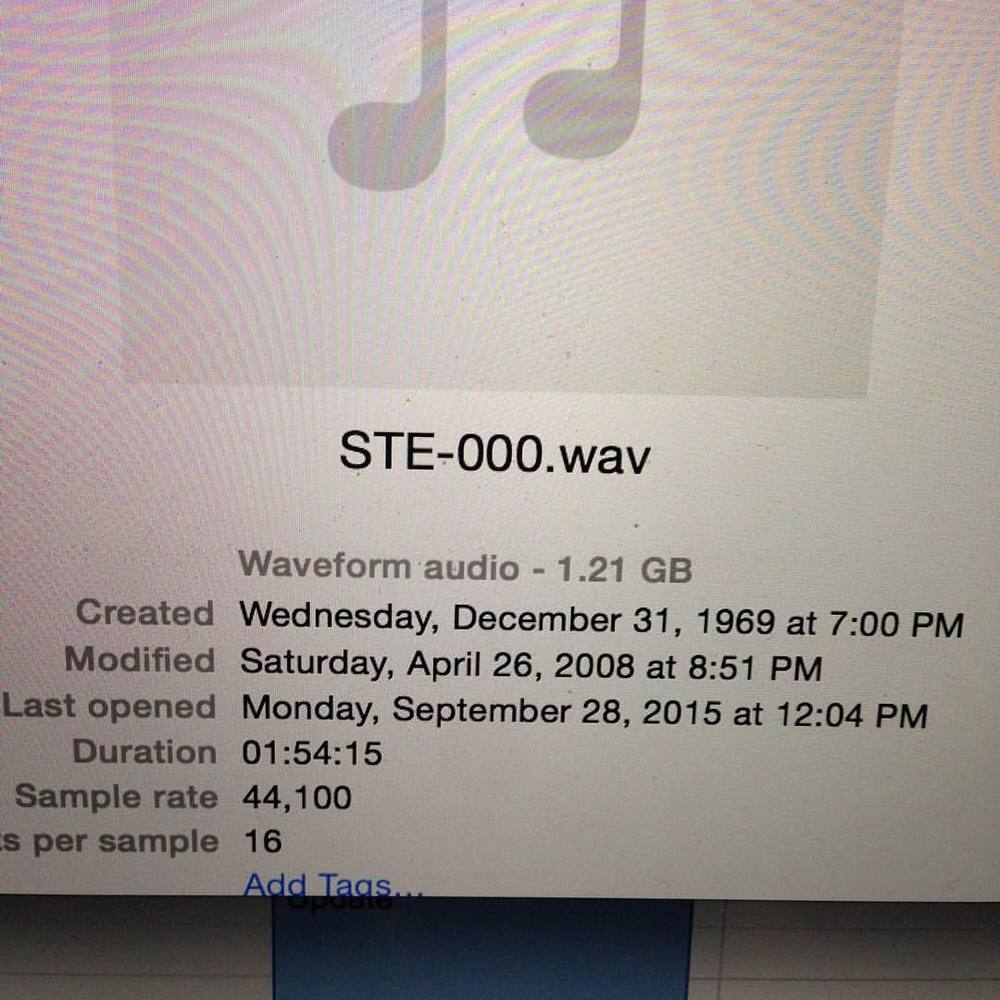 Recorded a rehearsal this past Monday that my computer thinks was created in 1969 and last opened seven years ago. Not really going for a vintage sound here.