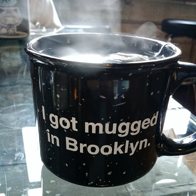 That's hasn't actually happened to me in Brooklyn (only in Cleveland), but I dig the punnage. (at Brooklyn Roasting Company)