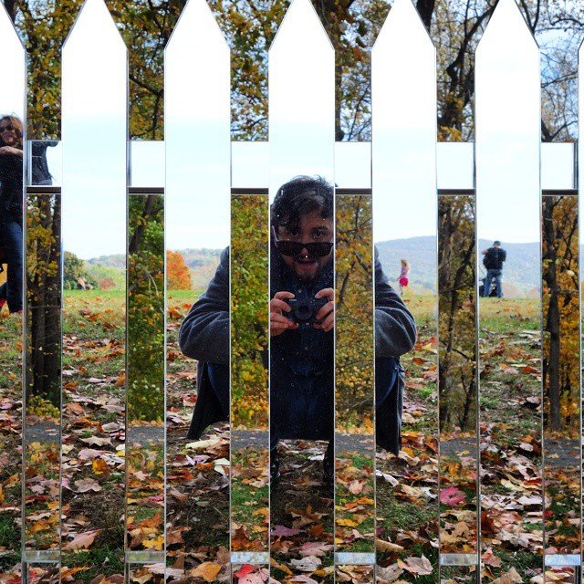 Me, in a fence. (at Storm King Art Center)