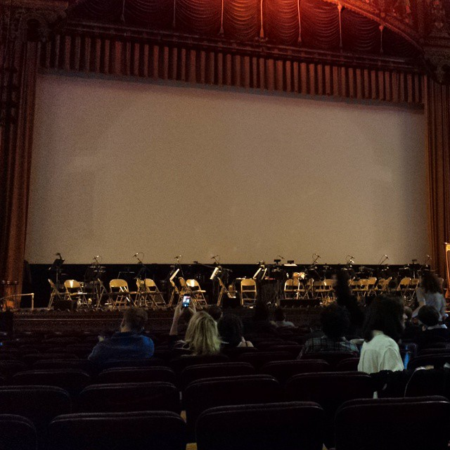 "Johnny Greenwood + Full Orchestra about to accompany a screening of ""There Will Be Blood"" in a gorgeous theater. So much to nerd-out about. Amazing birthday present from @alexmilak :-) (at United Palace Theater)"
