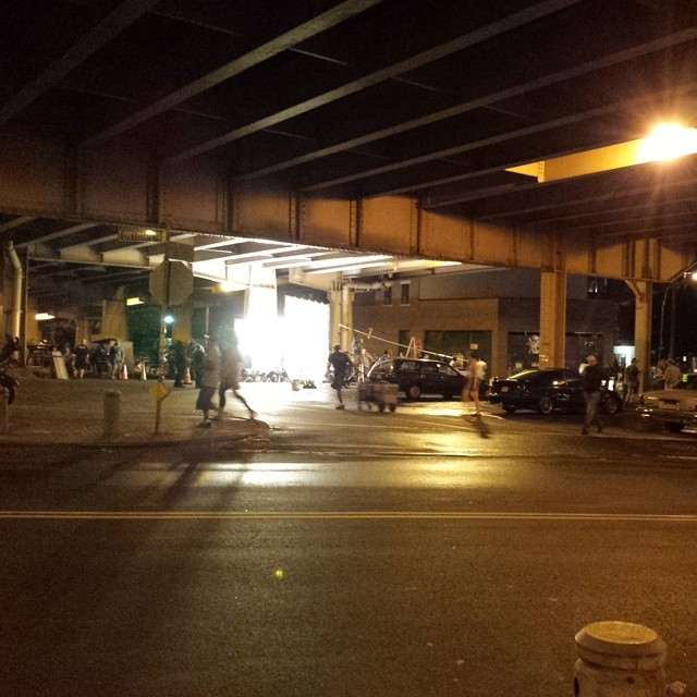 Huge film shoot under the BQE tonight, lots of classic cars.