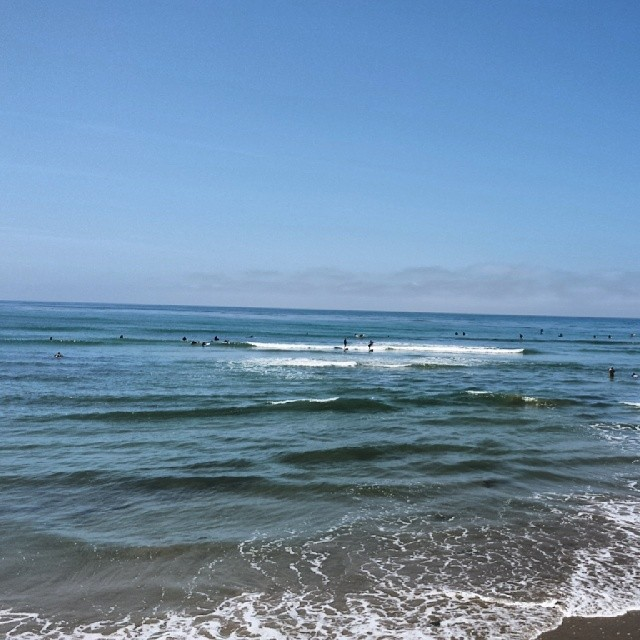 Watch the patient surfer as he stalks his prey… (at Santa Barbara Beach)