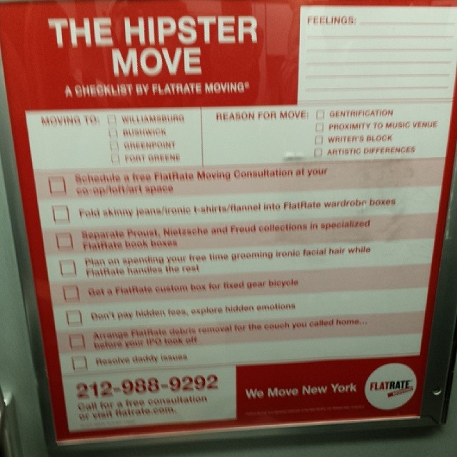 Blurry, but solid ad on the L-Train.