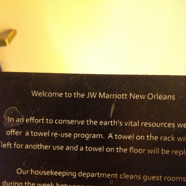 "Does reusing towels really qualify as being a ""program""? Isn't that just what we all do when we're not in a hotel? (at JW Marriott Hotel)"