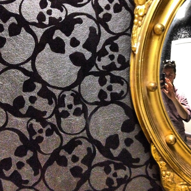 So the wallpaper in my Doctor's office bathroom is a pile of skulls…wtf?
