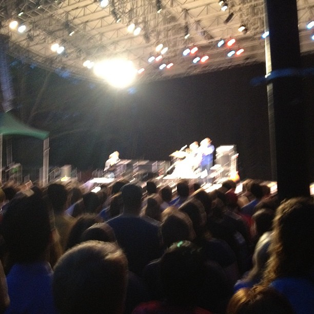 Blurry but that's Ben Folds Five and they sound amazing (Taken with  Instagram  at SummerStage - Mainstage in Central Park)