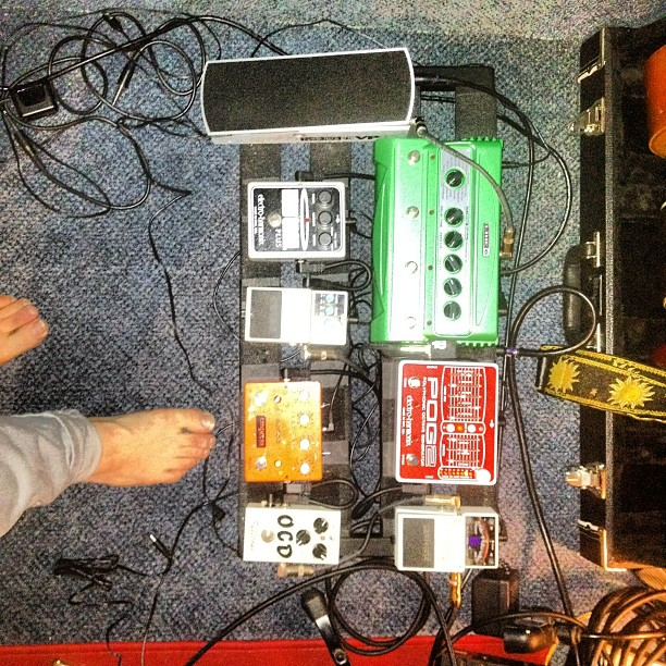 New pedal configuration for upcoming @rebeccabrandt show (Taken with Instagram at The Bear Cave)