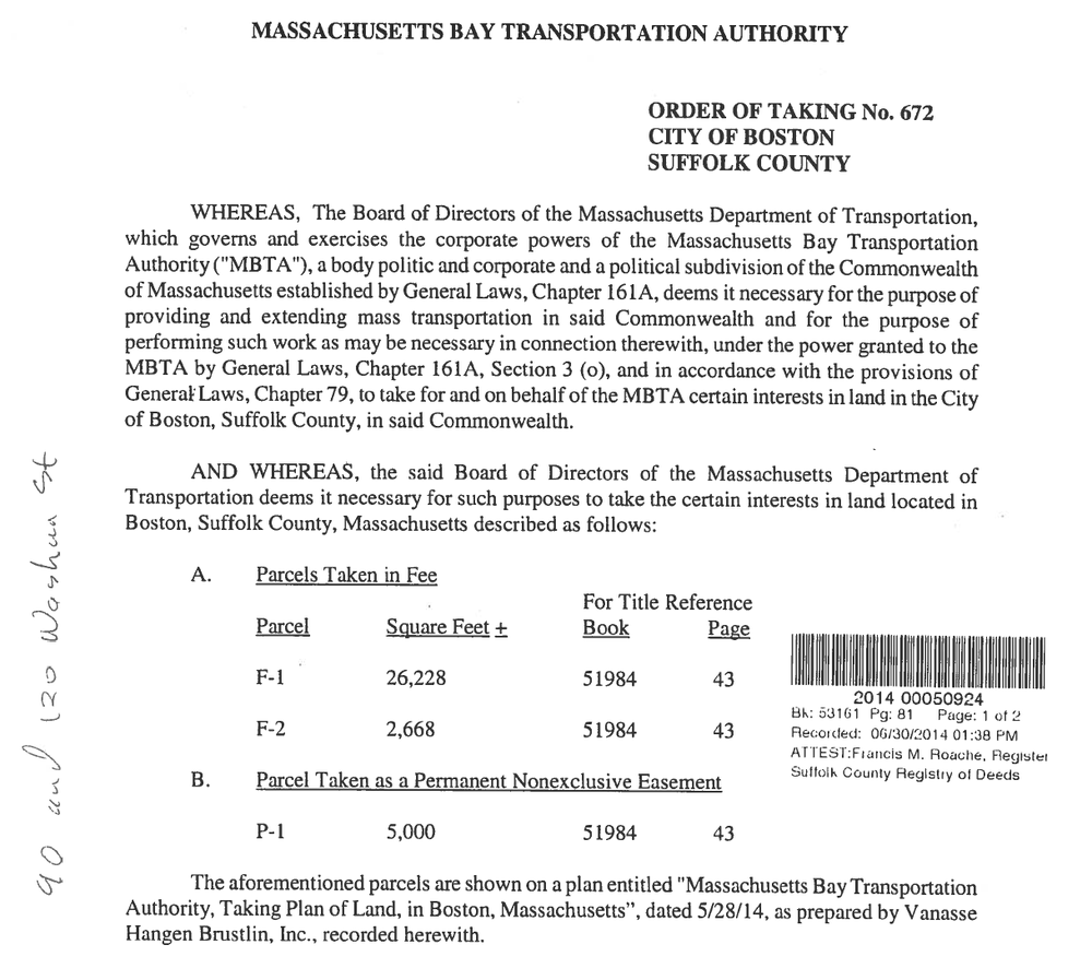 Order of Taking Document   [filed by MassDOT in 2014]