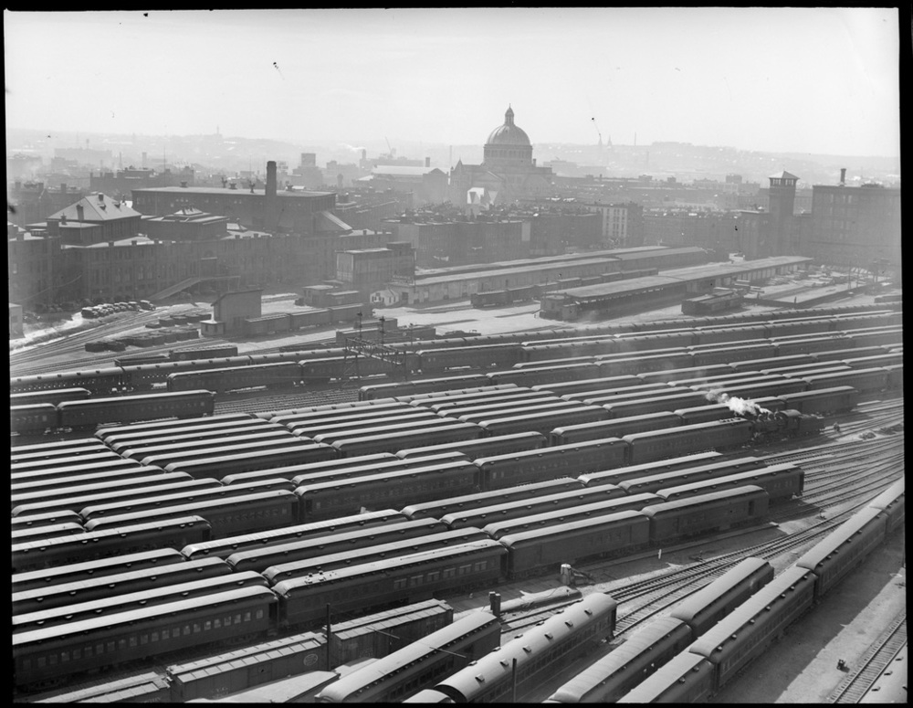 Boston's great Boston & Albany rail yards in the early 20th century   [ BOSTON PUBLIC LIBRARY]