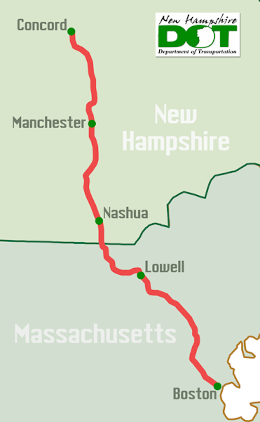 The New Hampshire Capitol Corridor Project, still in the planning stages, would create a direct rail connection from Concord, Manchester and Nashua to the Massachusetts commuter rail network.   [NH DOT]