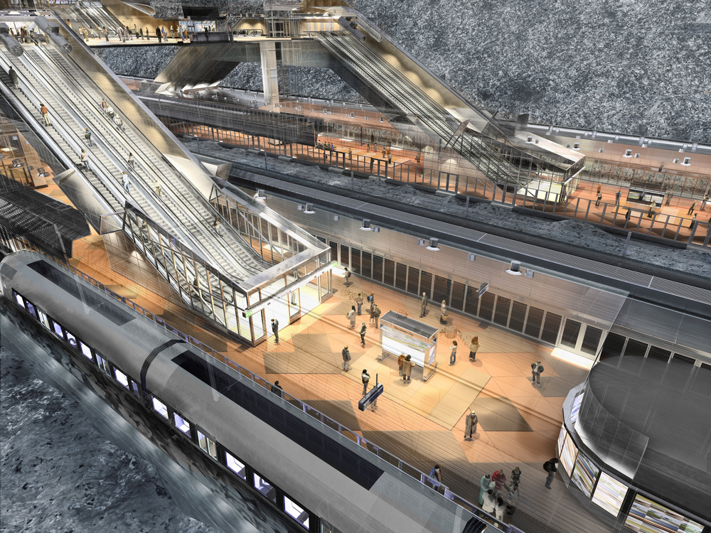Stockholm Centralen Station.  New rail platforms are being constructed below the existing main subway station (upper left), with direct escalator connections between them.   [Illustration © Ahlqvist och Almqvist Arkitekter AB]