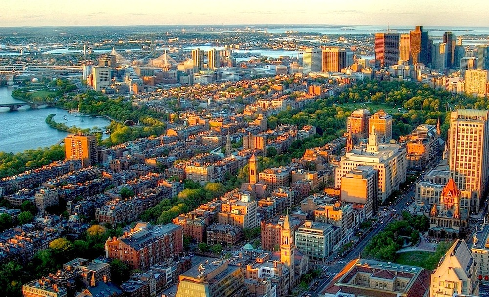 Back Bay Boston; Boston's Back Bay was created on a formerly tidal estuary from 1857 until the early 20th century.   [© Alexey Sergeev]