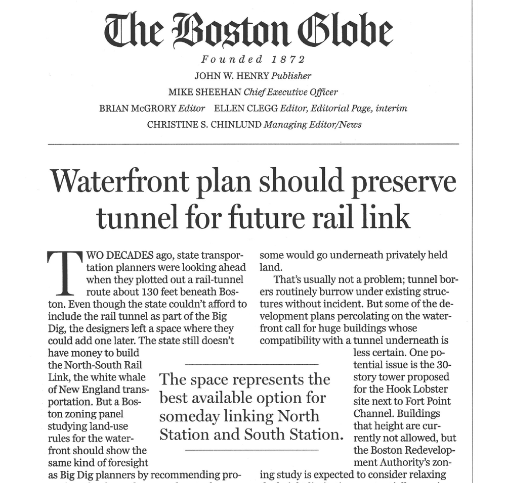 The Boston Globe published an editorial March 5, 2015, urging state planners to protect the NSRL alignment from obstructions that might result from uncoordinated development above.   [© The Boston Globe]