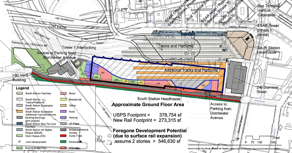 Plan of proposed development on the US Post Office site adjacent to South Station, showing that much of this very expensive waterfront site will be devoted to parking trains (new platforms are shown in orange), wiping out about 550,000 sf of useable area, and greatly complicating the construction process. The MBTA conceded in January 2015 that, as a result, the development is unlikely to make any financial contribution toward the cost of South Station Expansion.   [South Station Expansion DEIR]