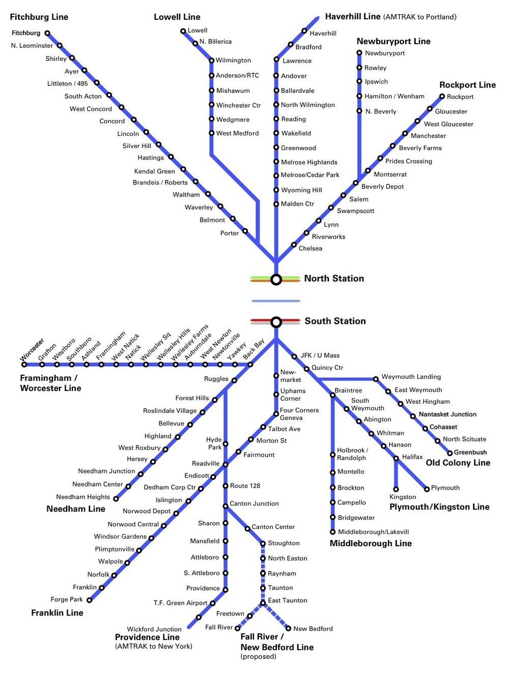Map of existing commuter rail system, with no connection between north and south.  [© Brad Bellows Architects]